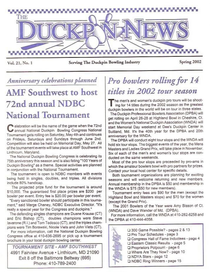 Spring 2002 Duckpin News